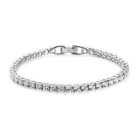 J Francis Platinum Over Sterling Silver Tennis Bracelet (Size 8) Made with SWAROVSKI ZIRCONIA 10.00