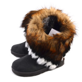 Women Faux Fur Lined Winter Warm Snow Ankle Boots Grey