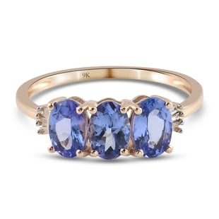 9K Yellow Gold AA Tanzanite and Diamond Ring 1.40 Ct.