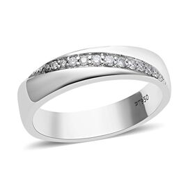 RHAPSODY 950 Platinum IGI Certified Diamond (Rnd) (VS/E-F) Band Ring 0.100 Ct