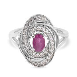 Burmese Ruby and Natural Cambodian Zircon Ring in Platinum Overlay Sterling Silver 1.33 Ct.