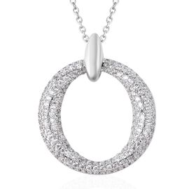 Simulated Diamond Circle Pendant With Chain in Silver Plated Stainless Steel 20 Inch