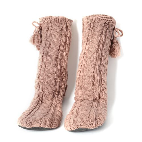 Set of 2 Pairs - Warm and Soft Grey and Peach Colour Faux Fur Booties with Sherpa Lining (Size 25x24Cm) (size 4-9)