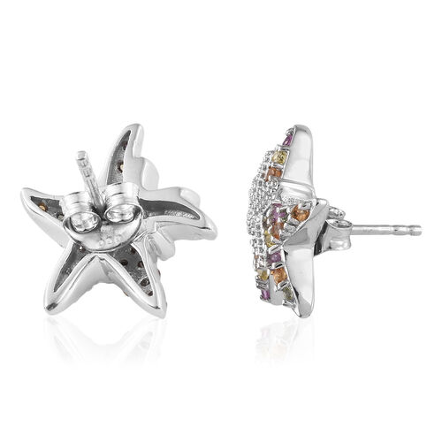 Multi Gem Stone Platinum Overlay Sterling Silver Earring  0.750  Ct.