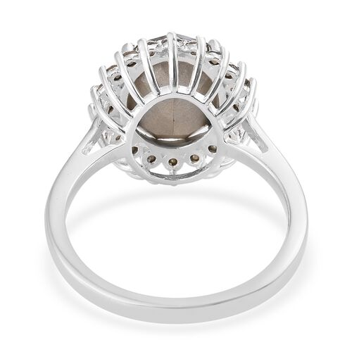 J Francis Crystal from Swarovski - Silver Night Crystal (Ovl), White Crystal Ring in Sterling Silver