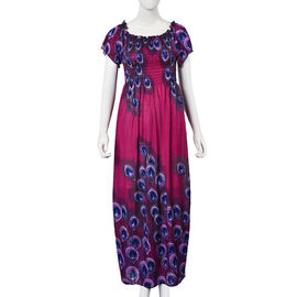 Fuchsia and Blue Colour Peacock Feathers Pattern Summer Dress (Size 48x125 Cm)