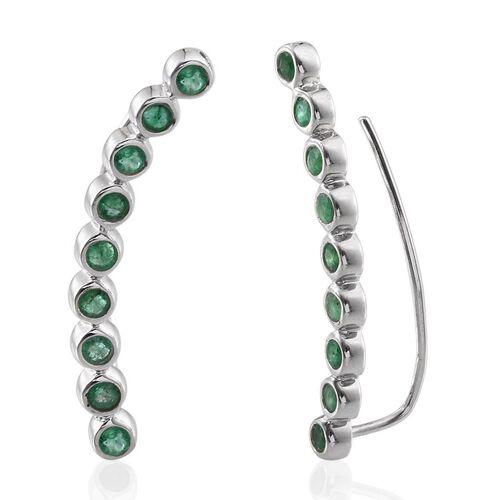 Kagem Zambian Emerald (Rnd) Climber Earrings in Platinum Overlay Sterling Silver 2.000 Ct.