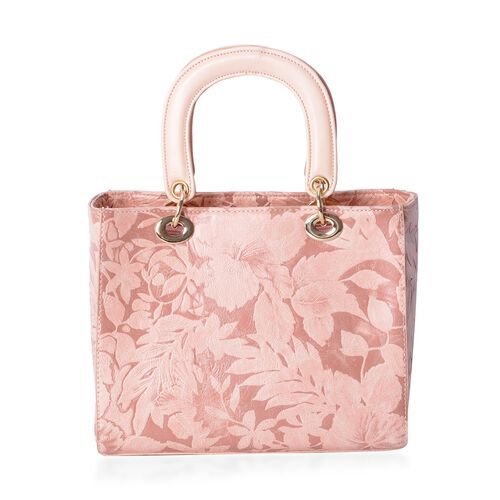 Close Out Deal Pink Flower Embossed Tote Bag with Removable Shoulder Strap (Size 25.5x21x12.5 Cm)