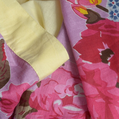 100% Cotton Pink, Yellow and Multi Colour Flower and Leaves Pattern Gown (Size 100x66 Cm)