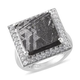 Meteorite (Sqr), Natural Cambodian Zircon Ring in Platinum Overlay Sterling Silver 3.17 Ct, Silver w