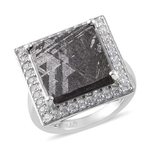 3.17 Ct Meteorite and Zircon Halo Ring in Platinum Plated Sterling Silver 6.22 Grams