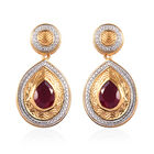 2.75 Ct African Ruby Drop Earrings in Rhodium and Gold Plated Sterling Silver