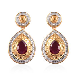 African Ruby Drop Earrings (with Push Back) in Rhodium and 14K Gold Overlay Sterling Silver 2.75 Ct,