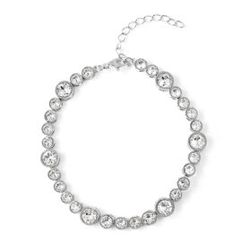 J Francis Swarovski Crystal Tennis Bracelet in Rhodium Plated Silver 6.5 with 2 Inch Extender