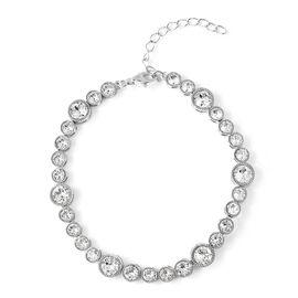 J Francis Swarovski Crystal Tennis Bracelet in Rhodium Plated Silver 6.5 with 2 Inch Extender