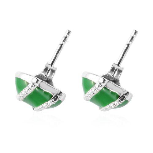Diamond Stud Earrings (with Push Back) in Sterling