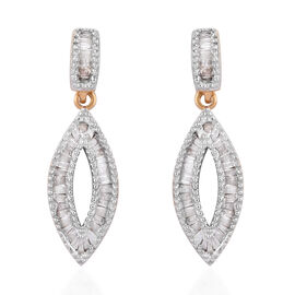 0.50 Carat Diamond Drop Earrings in Gold Plated Sterling Silver