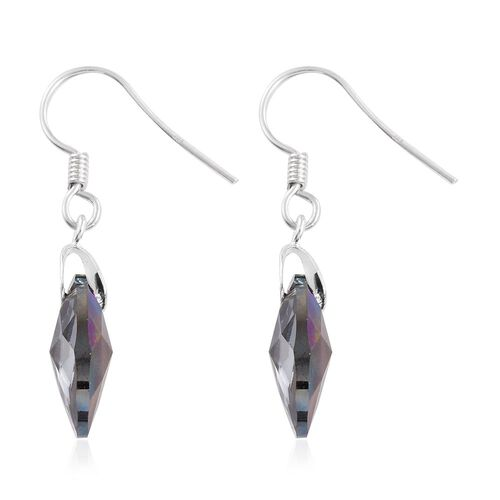 J Francis Crystal from Swarovski - Charcoal Crystal (Pear) Hook Earrings in Sterling Silver