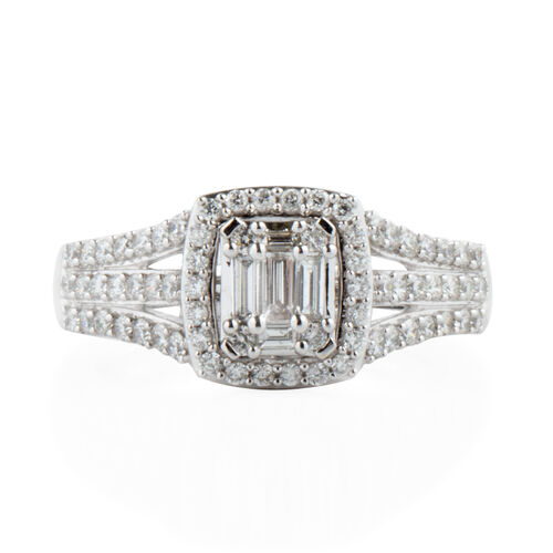 New York Close Out- 14K White Gold Diamond (Bgt and Rnd) (I1-I2/G-H) Ring 1.000 Ct. Gold wt 6.00 Gms.