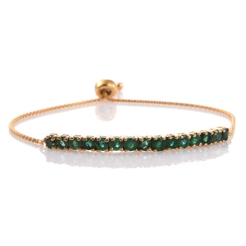 Brazilian Emerald (Rnd) Adjustable Bracelet (Size 6.5 to 8) in 14K Gold Overlay Sterling Silver 2.500 Ct.