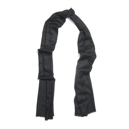 100% Cashmere Wool Black Colour Ultra Soft Scarf (Size 200X70 Cm)