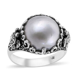 White Mabe Pearl (Rnd 14 mm) Ring in Sterling Silver