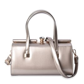 HongKong Close Out -Barrel Design Tote Bag with White Glass Clasp and Detachable Shoulder Strap (Siz