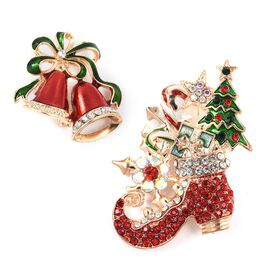 2 Pcs Set-Multi Colour Austrian Crystal (Rnd), White Austrian Crystal Christmas Stocking and Bell Brooch in Gold Tone