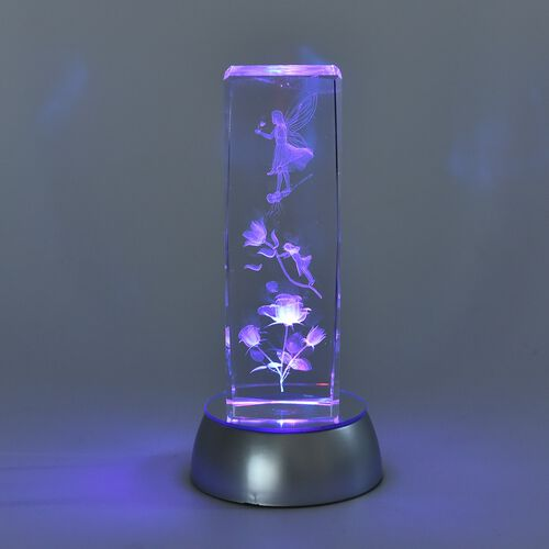 Home Decor - Fairy with Flower Crystal Multicolour LED Night Light (3xAA Battery not Included) (Size 15x5 Cm)