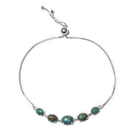 Mojave Blue Turquoise (Ovl) Bracelet (Size 6.5 - 9.5 Adjustable) in Sterling Silver 3.75 Ct.