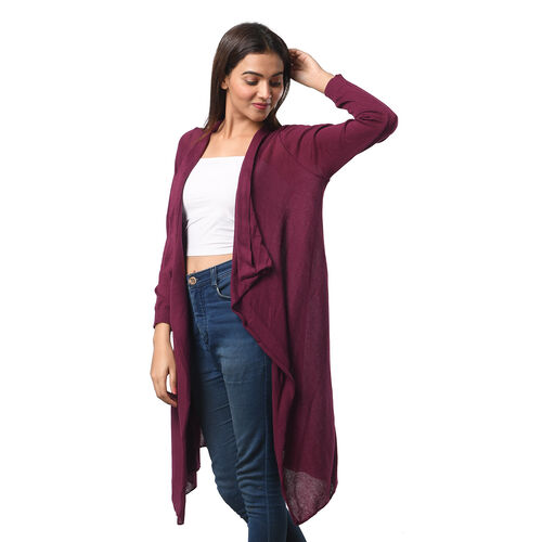 Marigold Lotus: 100% Cotton Knit Long Sleeve Waterfall Cardigan in Purple; L-XL (UK Size 16-20)