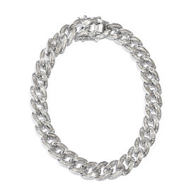 3 Carat Diamond Curb Chain Bracelet in Platinum Plated Sterling Silver 23 Grams 8.5 Inch
