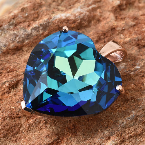 J Francis - Crystal From Swarovski - Bermuda Blue Crystal (Hrt 28 mm) Heart Pendant in Rose Gold Overlay Sterling Silver