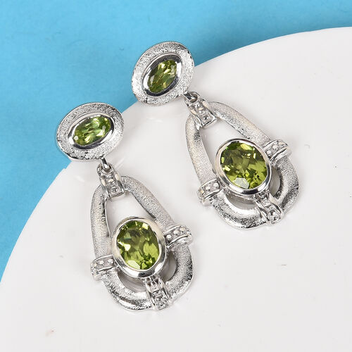 AA Hebei Peridot Earrings (With Push Back) in Platinum Overlay Sterling Silver 2.00 Ct, Silver wt 5.29 Gms