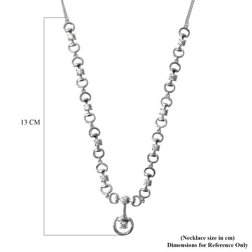 J Francis Platinum Overlay Sterling Silver Necklace (Size 18) Made with SWAROVSKI ZIRCONIA 4.74 Ct, Silver wt 14.68 Gms