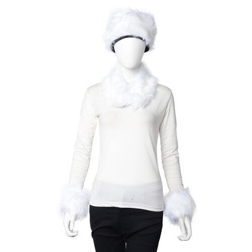 3 Piece Set - Faux Fur Hat, Scarf and Cuff Bracelet - White