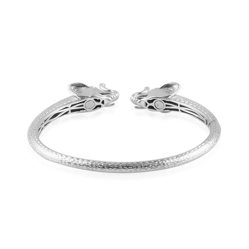 Elephant Head Cuff Bangle (Size 7.5) in Platinum and Yellow Gold Tone