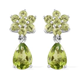 Hebei Peridot (Pear & Rnd) Earrings (with Push Back) in Platinum Overlay Sterling Silver 5.50 CT