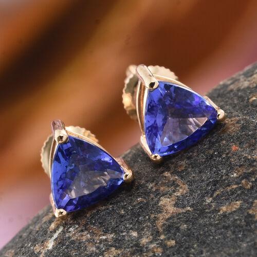 ILIANA 18K Yellow Gold 1 Carat AAA Tanzanite (Trl) Stud Earrings (with Screw Back)