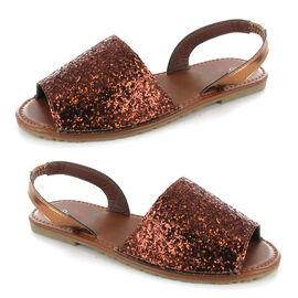 OLLY Palma Glitter Mule Sandal in Brown Colour