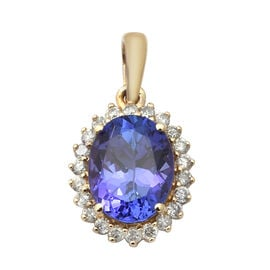 Elite Collection-9K Yellow Gold AAA Tanzanite and Diamond Pendant 2.17 Ct.