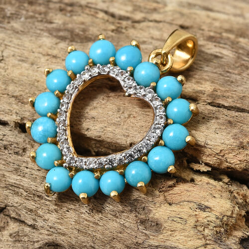 Arizona Sleeping Beauty Turquoise (Rnd), Natural White Cambodian Zircon Heart Pendant in 14K Gold Overlay Sterling Silver 2.000 Ct