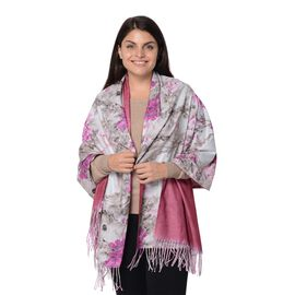 Reversible Digital Printed Peony Pattern Scarf with Tassel (Size 70x180 Cm) - Wine and Pink