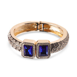 Simulated Sapphire and Austrian White Crystal Enamelled Art deco Bangle (Size 7) in Gold Tone
