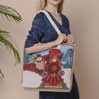 Christmas Collection Train Print Jute Tote Bag (Size 42x34x9x37cm) - Red