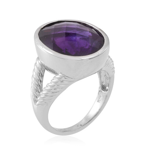Very Rare Size Zambian Amethyst (Ovl) Ring in Rhodium Plated Sterling Silver 15.750 Ct. Silver wt. 9.00 Gms.