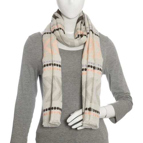 Grey and Multi Colour Scarf (Size 190x50 Cm)