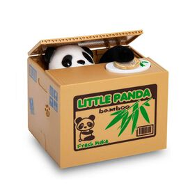 Coin Stealing Panda Money Box (Size 12x10x9cm) - 2xAA Batteries Not Included