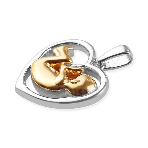Platinum and Yellow Gold Overlay Sterling Silver Baby in Womb Heart Pendant