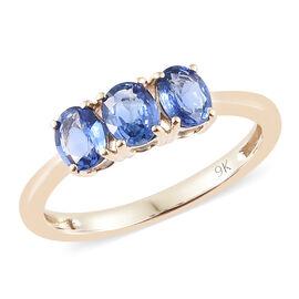 9K Yellow Gold AA Royal Ceylon Sapphire (Ovl) Trilogy Ring 1.150 Ct.